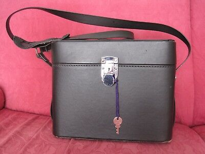 Vintage Camera shoulder bag, hardcase for camera kit, original strap, lock & key