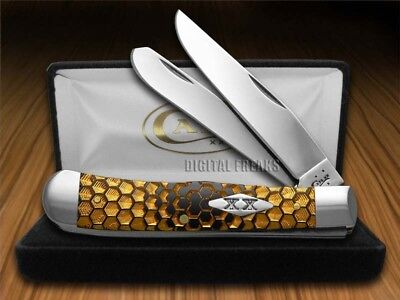 CASE XX Gold Honeycomb Black Delrin 1/500 Trapper Pocket Knives Knife