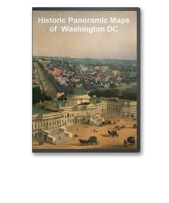 Washington DC -  18 Vintage Panoramic City Maps on CD - B193