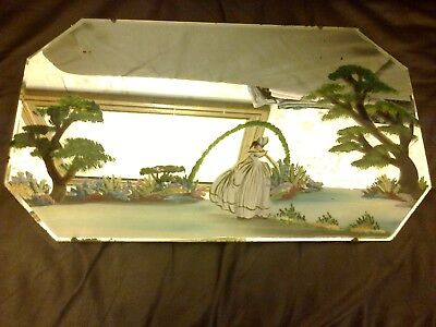 Vintage Art Deco Painted Wall Mirror Crinoline Lady Trees Coloured Flowers Scene