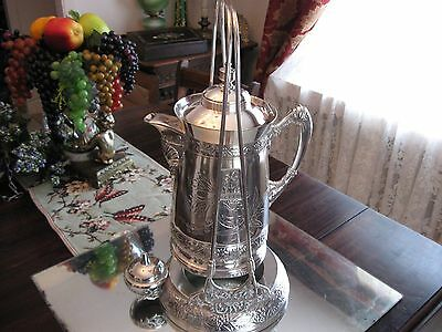 "Antique  1880""s  Service  Silver Plate  Tipping Water  Pitcher Samovar"