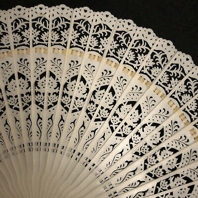 """Vintage Chinese hand Fan, Plastic Lace design,Ribbon & Tassel, 7"""" opens to 12"""""""