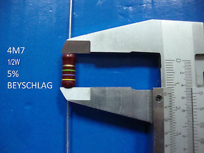 VINTAGE BEYSCHLAG RESISTOR. 1/2W 4M7 5% *1 PC* NEW+ (New Old Stock)