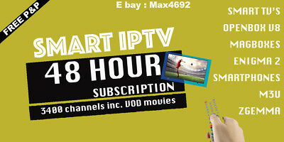 """48 Hour Smart IPTV Trial in 2 Minutes  """" ALL UK CHANNELS + VOD MOVIES """""""