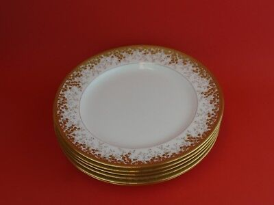 """Minton for TIFFANY & CO.  Gold Encrusted  9"""" Plates Set of 6"""