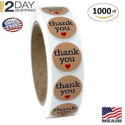 Natural Paper Kraft Thank You Sticker Labels with Red Hearts, 1 Inch Round, 1000