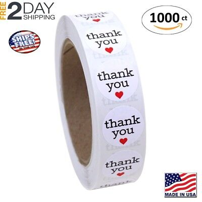 1 Inch Round Thank You Sticker Labels with Red Hearts, 1000 Stickers per Roll