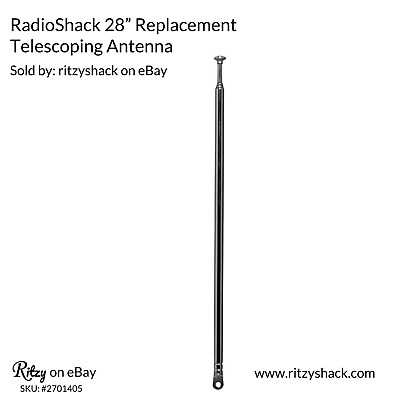 "RadioShack 270-1405 Replacement Telescoping Antenna ~ 5 Sections ~ 28"" Inch"