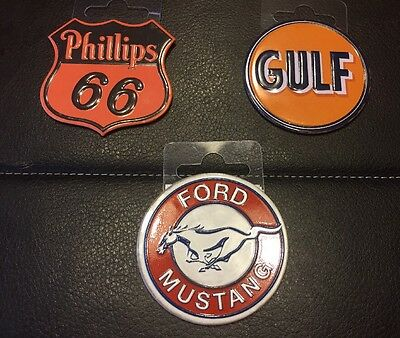 Lot Of 3 Toolbox/refrigerator Magnets Ford Mustang,phillips 66, Gulf Oil New
