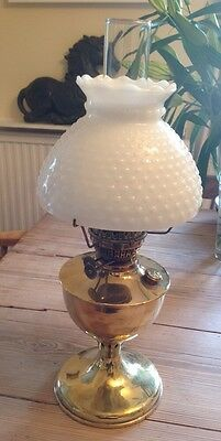 Very Nice Solid Brass Eltex Oil Lamp With Beaded White Glass Heavy Shade