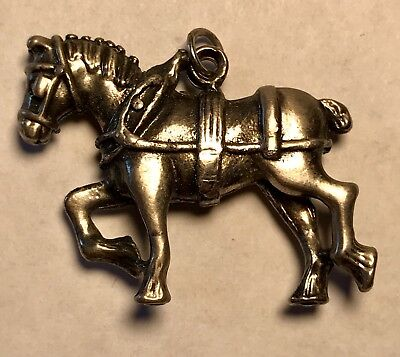 """Vintage Clydesdale Horse Charm Silver/Pewter Tone Belgian Draft Working 1 1/4"""""""