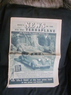 "1937 Hudson's Terraplane -"" New Selective Automatic Shift"" Newsprint"