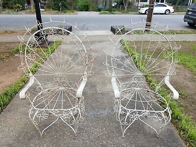 Pair of Antique Wrought Iron Peacock Chairs