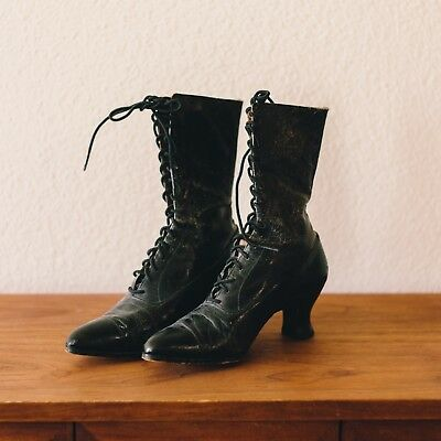 Antique Victorian Womens Leather Black Boots Spool Heel High Lace Up 1890's