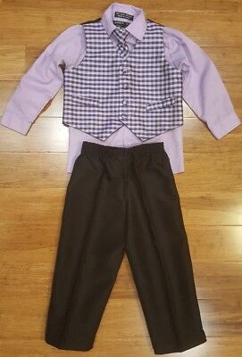 Andrew Fezza Baby Boy Size 18 Months button shirt w/ vest, pants, and tie