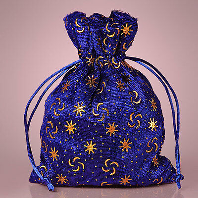 "NEW Royal Blue 5"" x 7"" Pressed Velvet Drawstring Bag Pouch"