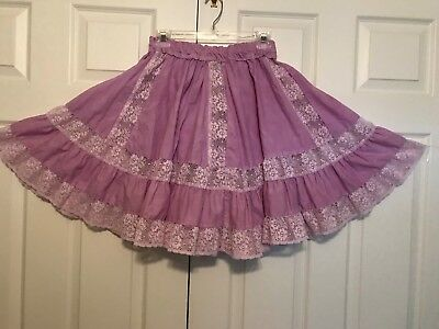 """Square Dance  Skirt Lavender  With Wide Lace M 20"""""""