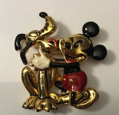 Vintage SIGNED DISNEY NAPIER Mickey Mouse and Pluto Brooch pin