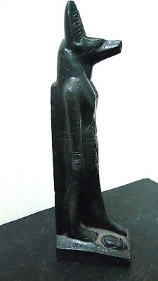 ANCIENT EGYPTIAN ANTIQUE  ANUBIS God Deity Dog Statue Stone with Scarab 1500 BC