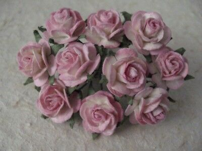 50 x 10mm Paper PINK/WHITE ROSES 519 MINIATURE Wedding crafts Cards Scrapbooking