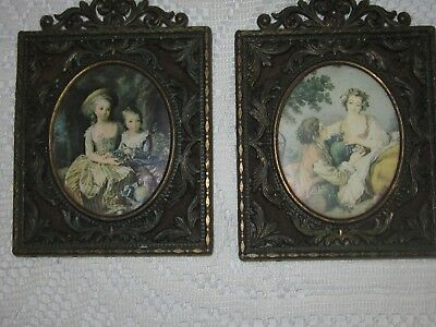Vintage Set of 2 Silk Print Pictures in Ornate Brass Glass Oval Frames, Italy