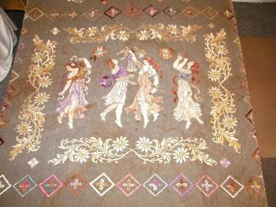 Antique FRENCH NET LACE Ribbon Work Embroidery COVERLET Cherub Children Dancers