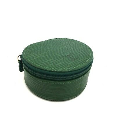 100% Authentic Louis Vuitton Epi Jewelry case Green Leather /h407