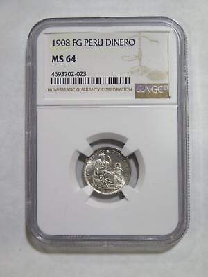 Peru Lima 1908 Fg Dinero Type Ngc Ms64 Silver Toned World Coin Collection Lot
