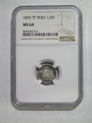 Peru Lima 1892 Tf 1/2 Dinero Ngc Ms64 Silver Toned World Coin Collection Lot