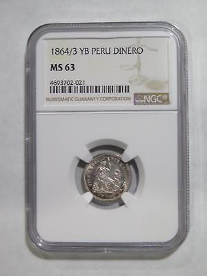 Peru Lima 1864/3 Yb Dinero Ngc Ms-63 Silver Type Toned World Coin Collection Lot