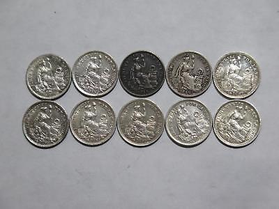 Peru 1/2 Dinero Type Mixed Dates Variety Silver Toned World Coin Collection #a