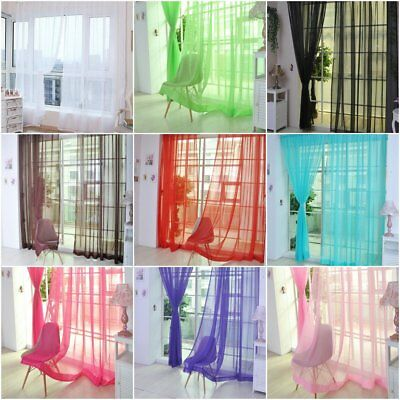 1pcs Home Floral Tulle Voile Door Window Curtain Drape Panel Sheer Scarf Valance