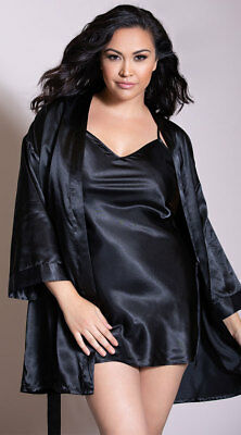 Womens Plus Size Charmeuse Babydoll And Robe Set, Plus Size Charmeuse Low Back