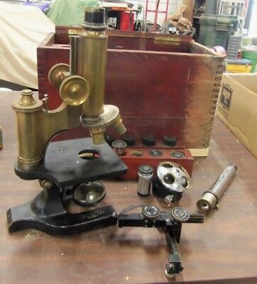 Antique 1906 Brass Spencer Microscope + Bausch & Lomb Attachment + Accessories