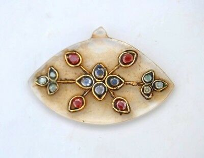 Vintage indo persian mughal rajput india crystal glass stones jeweled pendant