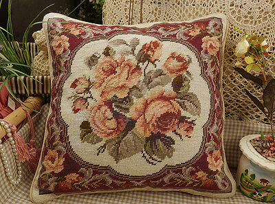 "16"" French Old Vintage Beautiful Chic Shabby - Rose Needlepoint Pillow"