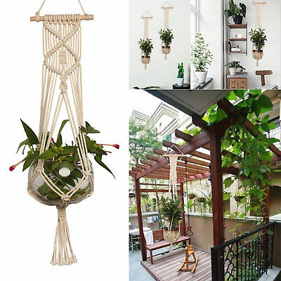 Pot Holder Macrame Plant Hanger Hanging Planter Basket Jute Rope Braided Craft~