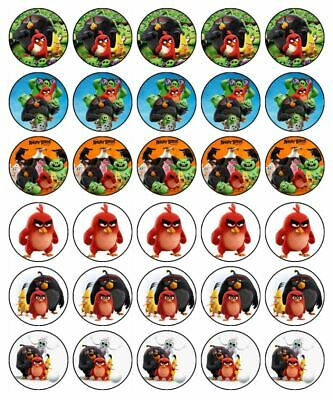 30 ANGRY BIRDS Cupcake Edible Wafer Paper Birthday Party Cake Decoration Toppers