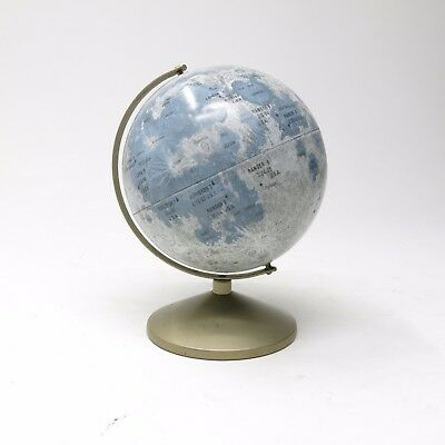 "Vintage REPLOGLE 1960s Tin Litho 6"" Moon Globe Pre-Apollo 11 with Stand"