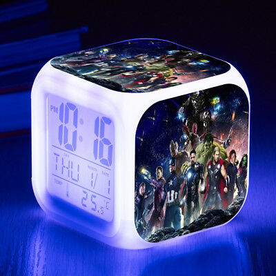 Avengers Infinity War Digital Alarm Clock LED 7 Color Change Night light Cosplay