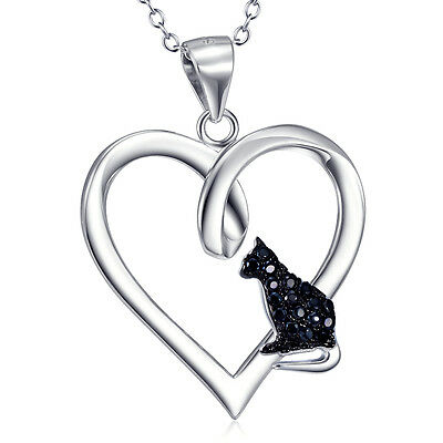 Solid Sterling Silver Black Zirconia Cute Animal Cat Pendant Love Heart Necklace