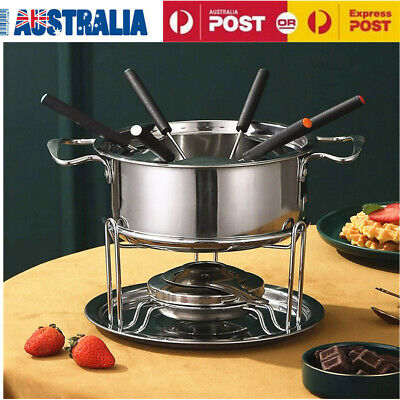 Classic Stainless Steel Fondue 12 Piece Set For Cheese Dipping with 6 Fork