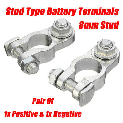 Pair Of Car Battery Terminals Heavy Duty Stud Type 8mm Cable