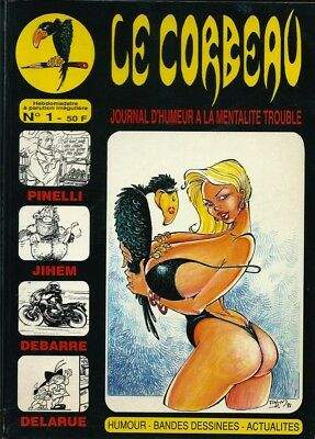 Rare Journal Le Corbeau N° 1 1991 Dédicace + Dessin Original De Pin Up Par Jihem