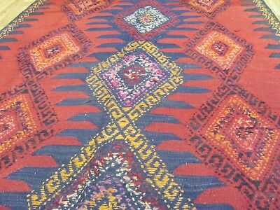ANTIQUE SENSATIONAL HANDMADE AZERBAIJAN PERSIAN KILIM (412 x 153 cm)