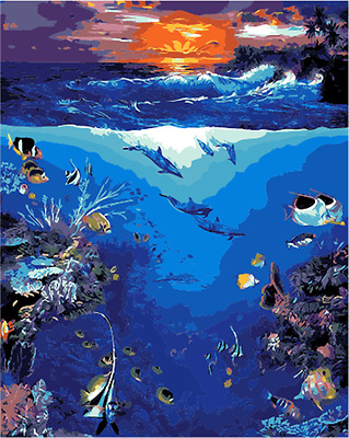 """16x20"""" DIY Acrylic Paint By Number kit Oil Painting On Canvas Underwater 1838"""