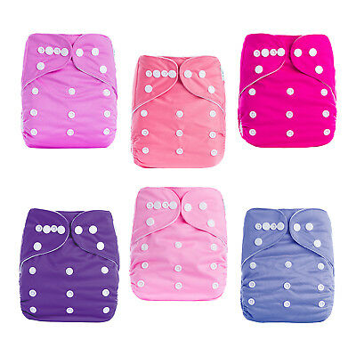 6 Infant Reusable Washable Baby Cloth Diaper Nappy with 6 inserts for Girls lot