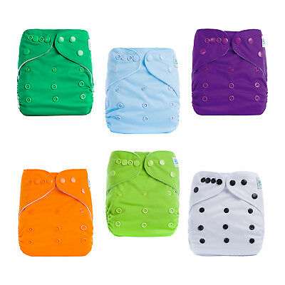 6 Baby Cloth Diaper Reusable Onesize Washable Nappy Pocket+ 6Insert For Girls