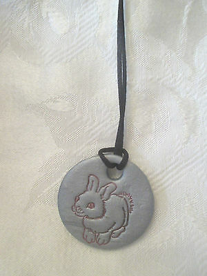 """1 3/4"""" round hand made Clay pendant necklace with bunny rabbit-NEW"""