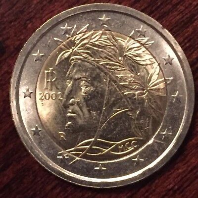 Italy 2 Euro - 2002 - First Year Edition w/Portrait of Dante Alighieri UNC